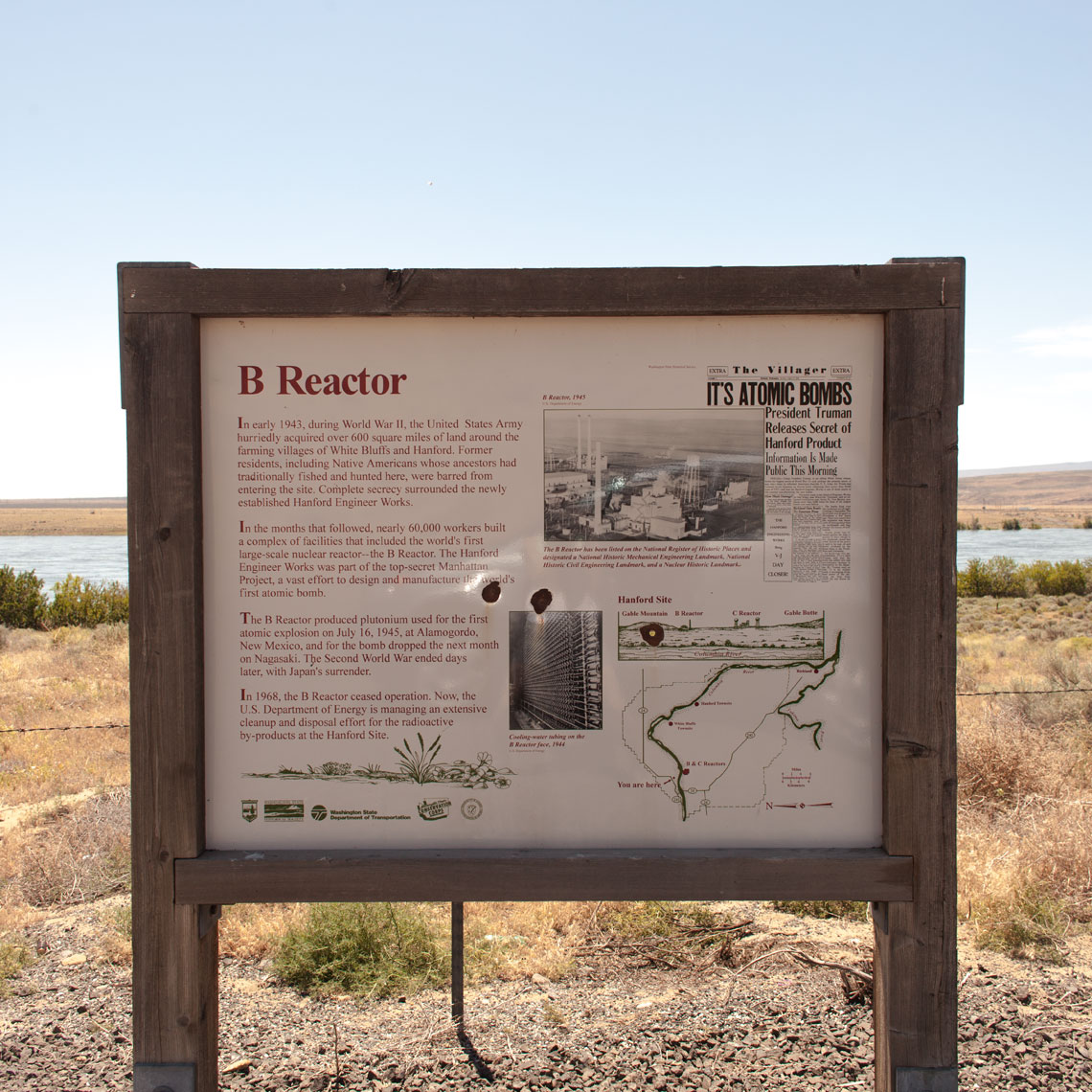 B Reactor sign on Hanford