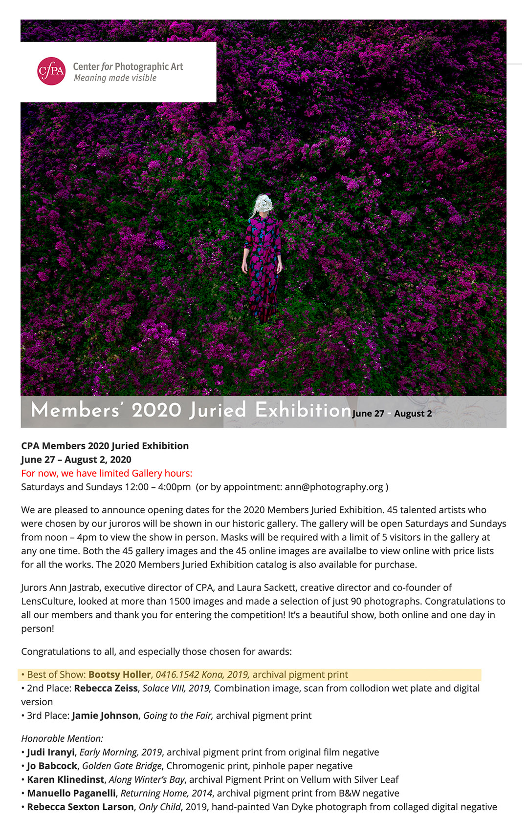 Center for Photographic Art BEST OF SHOW 2020 juried members show