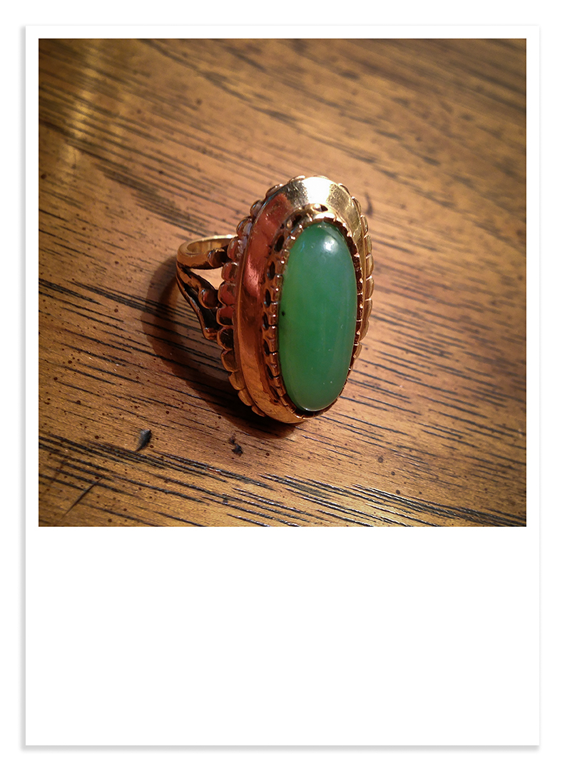 Treasures #34 gold and jade ring